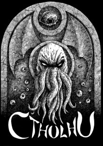 Cthulhu Gravestone - Ink Illustration