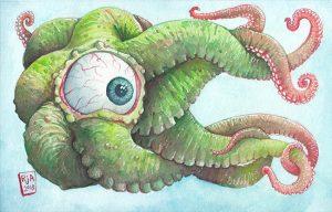 Tentacle Eyeball - Watercolor Illustration