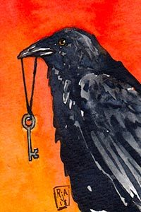 Watercolor Crow and Skeleton Key