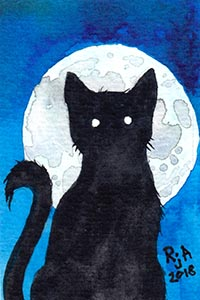 Black Cat Silhouette Watercolor